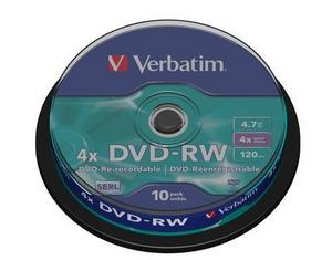 DVD Regravavel VERBATIM -RW 4x 4.7Gb 120Min Spindle10