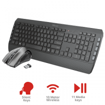 "Kit TRUST Tecla-2 Silent Wireless (Teclado + Rato) ""Black"""