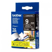 "Fita BROTHER TZ-325 9mm ""White on Black Tape"""