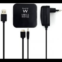 "EWENT EW1134 HUB 4-Port USB3.1 (Power adapter) ""Black"""