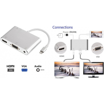 "Adaptador NTECH (Lightning«»HDMI~VGA+Audio) ""NBA810"""