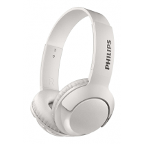 Headset PHILIPS BASS+ Wireless on-ear Headphones+Mic White